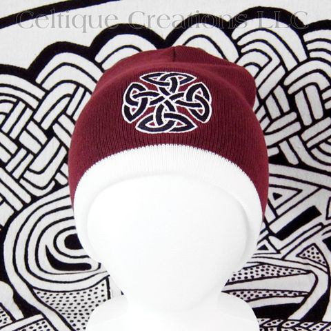 Celtic,Knot,Knit,Beanie,Maroon,and,White,Winter,Hat,Black,Trinity,Celtic Knot Beanie, Celtic Knot Winter Hat, Celtic Winter Cap, Celtic Knit Winter Cap, Knotwork Winter Hat