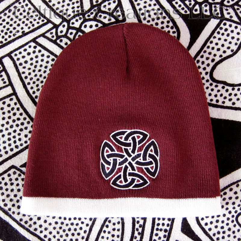 Celtic Knot Knit Beanie Maroon and White Winter Hat Black Trinity Knot - product images  of