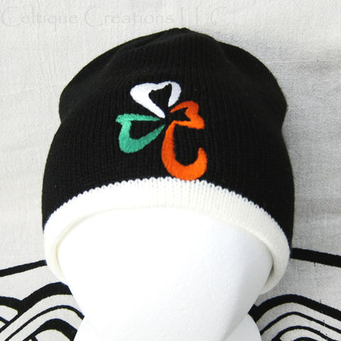 Irish,Flag,Shamrock,Knit,Black,Winter,Cap,Ireland,Tricolor,Hat,Green,Irish Flag Shamrock Knit Cap, Irish Shamrock Flag Winter Hat, Knit Cap with Irish Flag Shamrock, Irish Shamrock Beanie