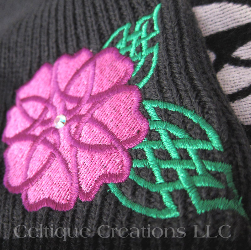 Celtic Knot Wild Rose Beanie Knit Winter Hat with Swarovski Crystal - product images  of