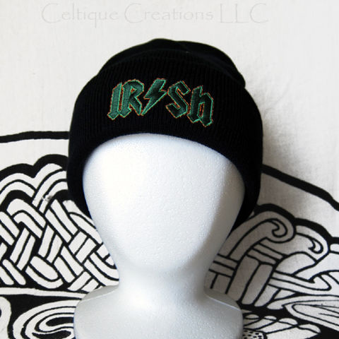 Irish,Rock,n,Roll,Stocking,Cap,Winter,Hat,Embroidery,Green,and,Orange,Irish Winter Cap, Irish Rock and Roll Hat, Irish Winter Hat, Irish Skully, Irish Beanie, Knit Irish Winder Hat