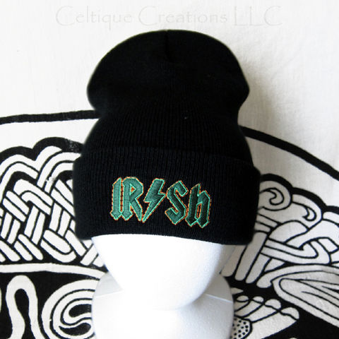Irish Rock n Roll Stocking Cap Winter Hat Embroidery Green and Orange - product images  of