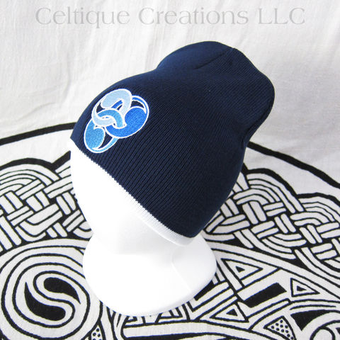 Stylized,Trinity,Knot,Beanie,Navy,White,Celtic,Knit,Winter,Cap,Blue,Trinity Knot Cap, Celtic Winter Hat, Knit Celtic Beanie, Trinity Knot Winter Cap, Trinity Knot Beanie, Celtic Knot Skully