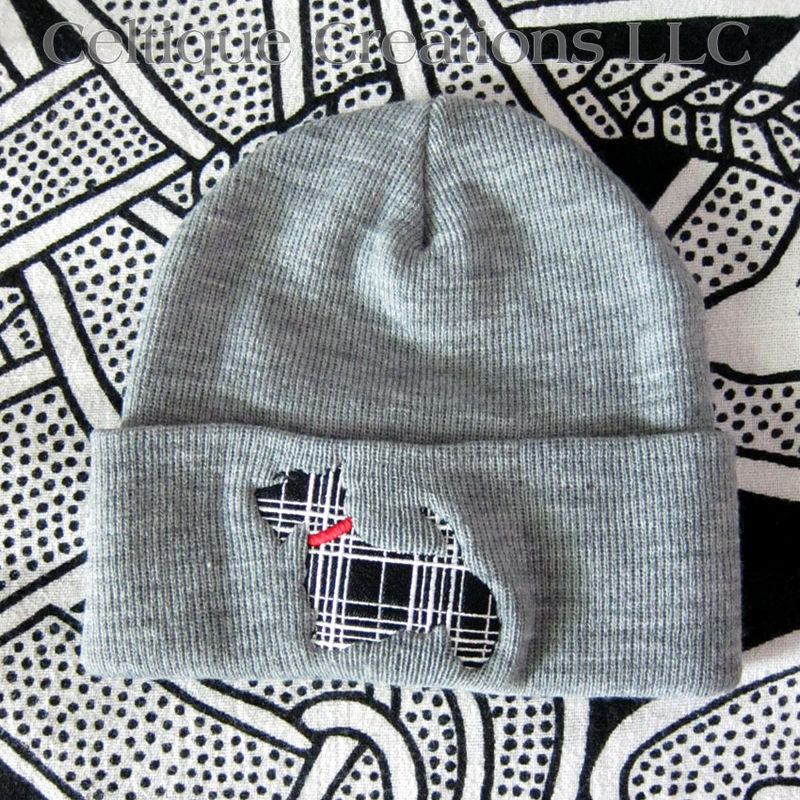 Tartan Plaid Scottish Terrier Winter Hat Gray Knit Cap Dog Embroidery - product images  of