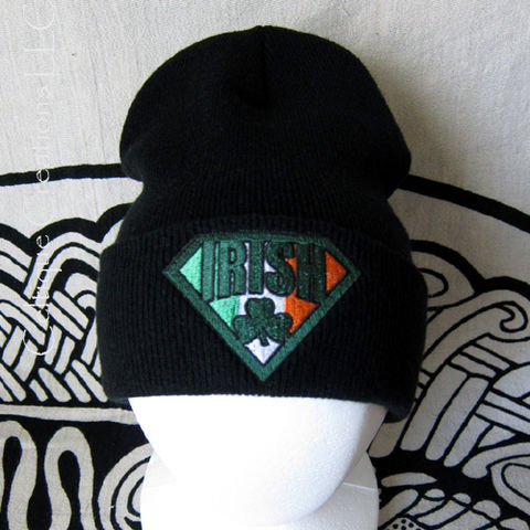 Irish,Super,Hero,Knit,Hat,Black,Cap,with,Shamrock,and,Ireland,Flag,Irish Super Hero Knit Cap, Irish Flag Winter Hat, Irish Super Hero Winter Cap, Irish Knit Cap, Irish Beanie, Irish Super Hero Hat