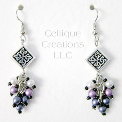 Handmade Celtic Knot Earrings Purple Ombre Cluster Faux Pearl Dangles - product images  of
