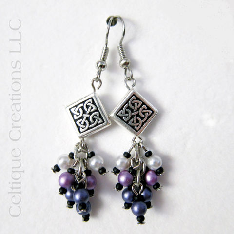 Handmade,Celtic,Knot,Earrings,Purple,Ombre,Cluster,Faux,Pearl,Dangles,Handmade Celtic Earrings, Handmade Celtic Cluster Earrings, Celtic Dangle Earrings, Purple Ombre Celtic Earrings, Celtic Fashion Jewelry, Celtic Fashion Earrings