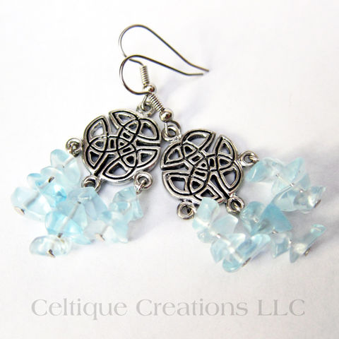 Celtic,Knot,Chandelier,Earrings,Pewter,Blue,Chip,Glass,Dangle,Jewelry,Handmade Celtic Earrings, Celtic Chandelier Earrings, Blue and Silver Celtic Fashion Earrings, Celtic Fashion Earrings, Celtic Dangle Earrings