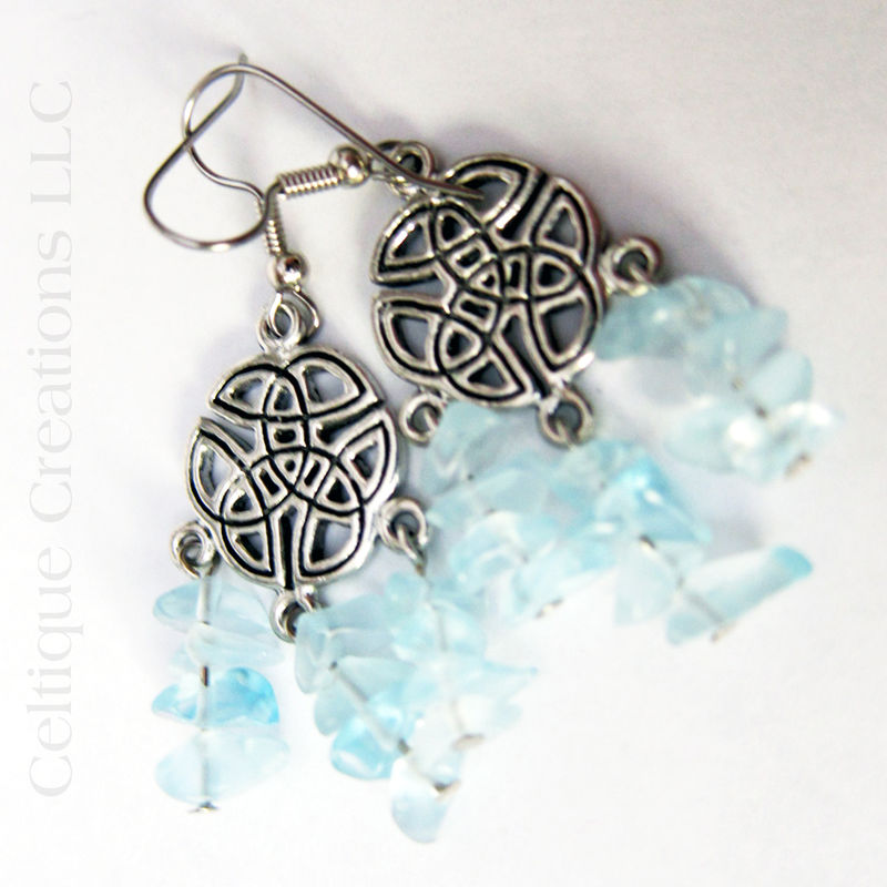 Celtic Knot Chandelier Earrings Pewter Blue Chip Glass Dangle Jewelry - product images  of