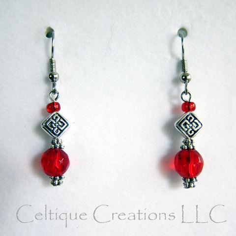 Celtic,Knot,Red,Dangle,Earrings,Glass,Pewter,Surgical,Steel,Ear,Wires,Celtic Knot Earrings, Handmade Celtic Knot Dangle Earrings, Celtic Fashion Earrings, Red Celtic Knot Earrings