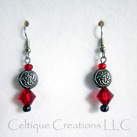 Celtic,Trinity,Knot,Earrings,with,Red,Bead,Accents,Surgical,Steel,Wire,Celtic Trinity Knot Earrings, Celtic Fashion Earrings, Handmade Celtic Earrings, Celtic Dangle Earrings