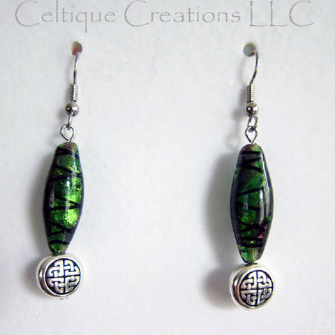 Celtic,Knot,Bead,Earrings,Green,Purple,Dichoric,Glass,Surgical,Steel,Celtic Dichoric Glass Earrings, Handmade Celtic Earrings, Celtic Dangle Earrings, Celtic Fashion Earrings, Celtic Knot Earrings