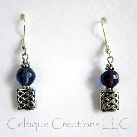 Smoky,Purple,and,Pewter,Celtic,Knot,Dangle,Drop,Earrings,Hidden,Hearts,Celtic Heart Earrings, Handmade Celtic Earrings, Celtic Fashion Earrings, Celtic Knot Earrings, Celtic Dangle Earrings