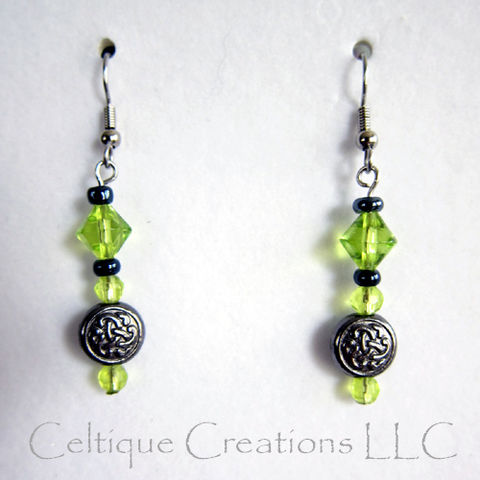 Celtic,Trinity,Knot,Earrings,Celery,Green,and,Gunmetal,Gray,Beads,Celtic Trinity Knot Earrings, Celtic Fashion Earrings, Handmade Celtic Earrings, Celtic Dangle Earrings