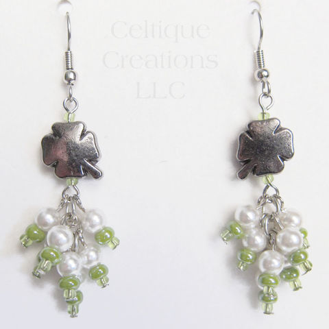 Irish Clover Drop Cluster Earrings Fashion Jewelry Pewter Shamrock - product images  of