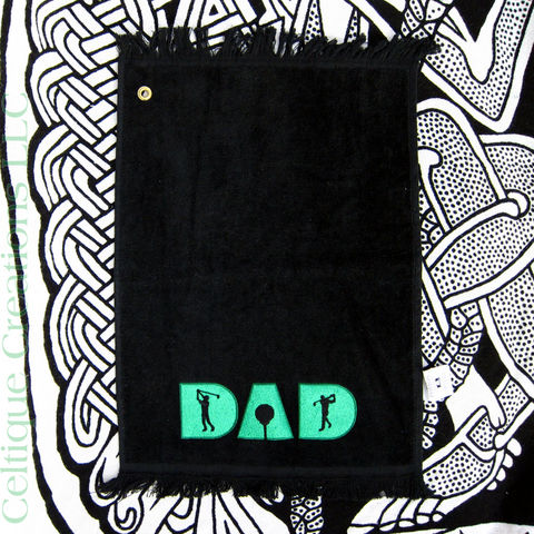 Dad,Embroidered,Golf,Towel,Black,Terry,Cloth,Green,Stitching,Golfer,Embroidered Golf Towel, Dad Golf Towel, Dad Golfer Embroidered Towel, Dad Gift, Father's Day Gift, Golf, Embroidered Golf Towel, Celtique Creations