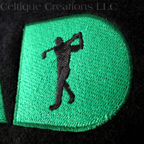 Dad Embroidered Golf Towel Black Terry Cloth Green Stitching Golfer - product images  of