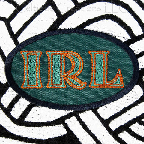 Sew,On,Ireland,IRL,Patch,Badge,Celtic,Lettering,Green,and,Orange,Ireland Sew On Patch, Ireland Sew On Badge, Celtic IRL Patch, Celtic IRL Badge
