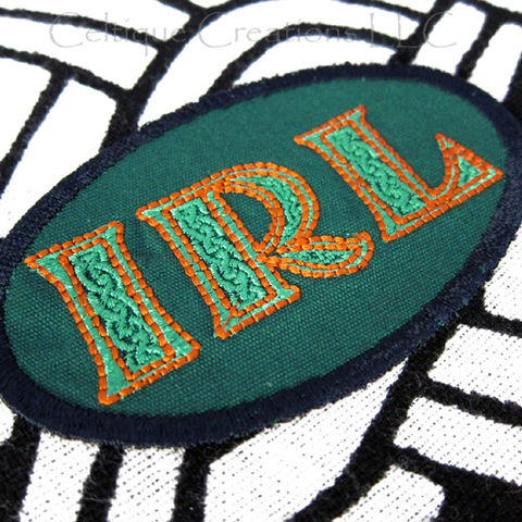 Sew On Ireland IRL Patch Badge Celtic Lettering Green and Orange - product images  of