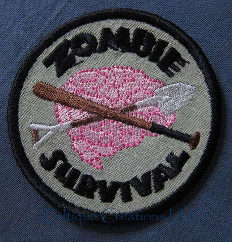 Sew,On,Zombie,Survival,Merit,Badge,Patch,Brain,Bat,Shovel,Embroidery,Zombie Survival Merit Badge, Sew On Zombie Survival Patch, Zombie Merit Badge, Handmade Zombie Patch