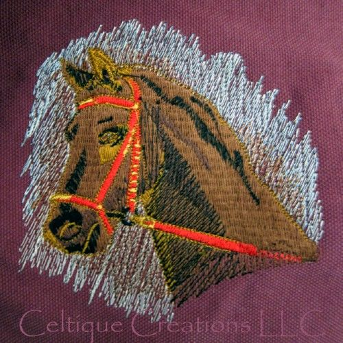 Brown Horse Cotton Canvas Messenger Style Bag Embroidery on Maroon - product images  of