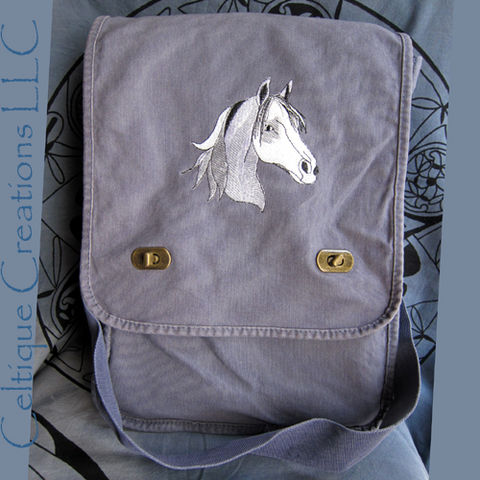 White,Horse,Vertical,Messenger,Bag,Emrboidery,on,Blue,Cotton,Canvas,Horse Bag, Horse Embroidered Carry All, Horse Vertical Messenger Bag, Messenger Bag with Horse Design