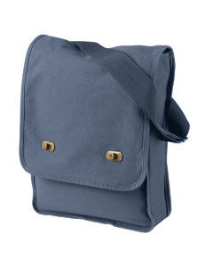 White Horse Vertical Messenger Bag Emrboidery on Blue Cotton Canvas - product images  of