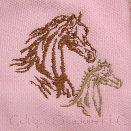 Little Girl Petite Pink Cotton Canvas Tote Bag with Horse Embroidery  - product images  of
