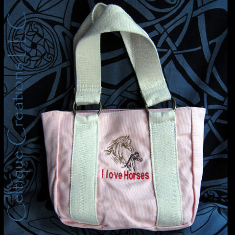 I,Love,Horses,Petite,Pink,Tote,Bag,with,Mare,and,Foal,Embroidery,Little Tote Bag, Horse Tote Bag, Pink Tote Bag with Horses
