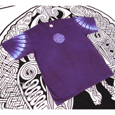 Circle,Celtic,Knot,T-Shirt,Tie,Dyed,Purple,and,Blue,Embroidered,Design,Celtic Tie Dye T-shirt, Celtic T-shirt, Purple Celtic Tee, Purple Tie Dye Celtic Tee Shirt