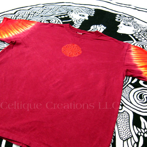 Celtic Circle Knot T-Shirt Red Tie-Dyed Sleeve Tee Embroidered Knotwork - product images  of