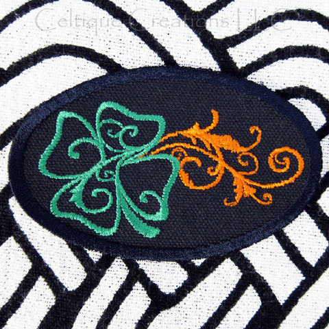 Four,Leaf,Clover,Sew,On,Patch,Badge,Handmade,with,Black,Canvas,Irish, Four Leaf Clover, Shamrock, Patch, Badge
