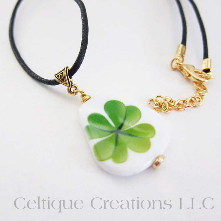 Handmade Celtic Irish Four Leaf Clover Necklace - product images  of