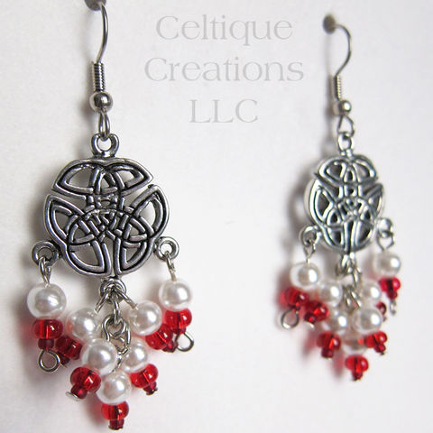 Handmade,Celtic,Knot,Fashion,Drop,Cluster,Earrings,Celtic Earrings, Celtic Drop Earrings, Celtic Chandelier Earrings, Handmade Celtic Earrings, Celtic Faux Pearl Earrings, Celtique Creations