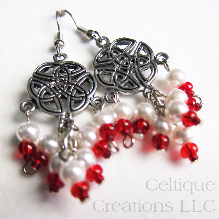 Handmade Celtic Knot Fashion Drop Cluster Earrings - product images  of