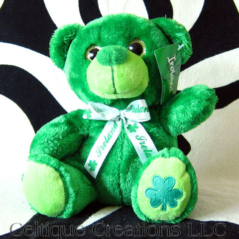 Green,Irish,Teddy,Bear,Stuffed,Animal,Ireland,Shamrock,Soft,Toy,Green Teddy Bear, Irish Bear, Ireland Bear, Irish Teddy Bear, Irish Bear Stuffed Animal, Irish Bear Soft Toy, Celtique Creations