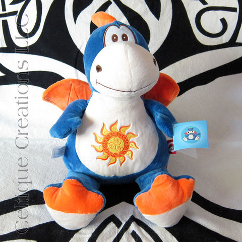 Celtic,Blue,and,Orange,Cubbies,Dragon,Stuffed,Animal,with,Triskele,Sun,Embroidery, Dragon, Blue Dragon, Celtic Dragon, Dragon Stuffed Animal, Dragon Soft Toy, Cubbies Dragon, Celtique Creations, Celtic Sun, Triskele, Triskelion