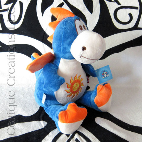 Celtic Blue and Orange Cubbies Dragon Stuffed Animal with Celtic Triskele Sun Embroidery - product images  of