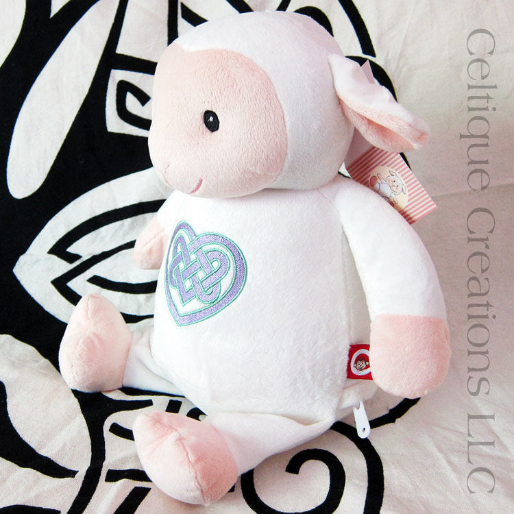 Celtic Lamb Cubbies Stuffed Animal Celtic Heart Embroidered Sheep Soft Toy - product images  of