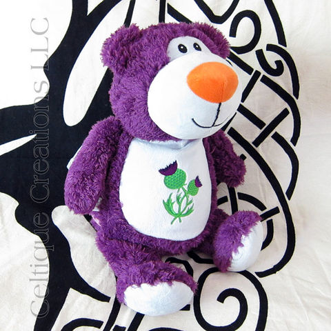 Scottish,Thistle,Cubbies,Teddy,Bear,Stuffed,Animal,Purple,Soft,Toy,Scottish Teddy Bear, Thistle Bear, Purple Teddy Bear, Cubbies Bear, Scottish Thistle, Purple Bear, Stuffed Animal, Soft Toy, Celtique Creations