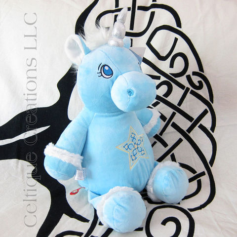 Celtic,Blue,Cubbies,Unicorn,with,Star,Embroidery,Celtic Unicorn, Unicorn stuffed Animal, Unicorn Soft Toy, Cubbies Unicorn, Blue Unicorn Stuffed Animal, Blue Unicorn, Celtique Creations