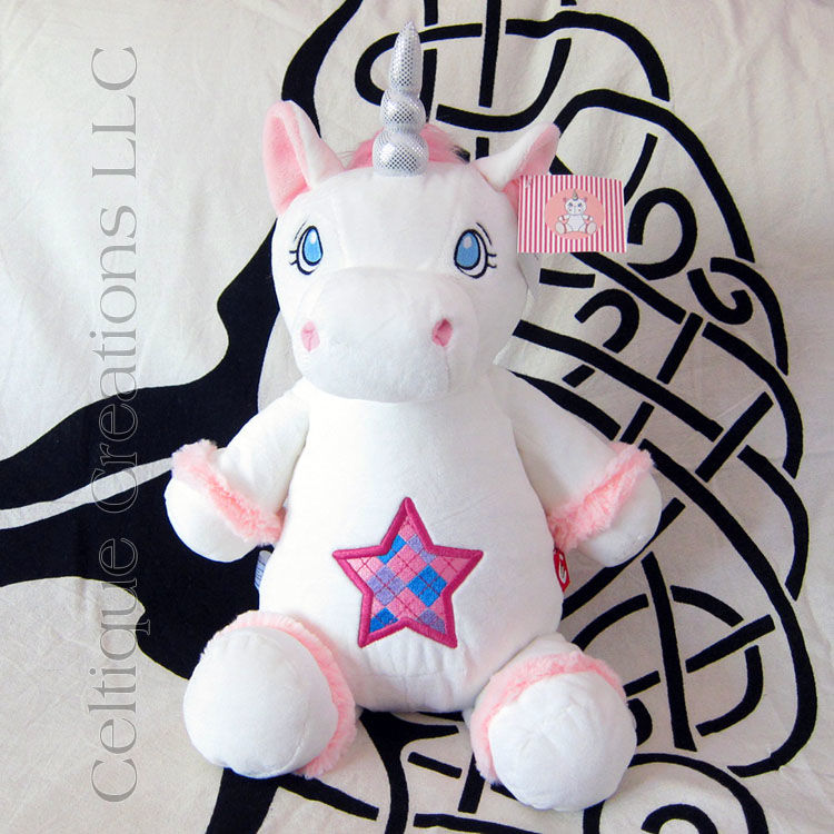 White Cubbies Unicorn Stuffed Animal with Scottish Argyle Star Embroidery - product images  of