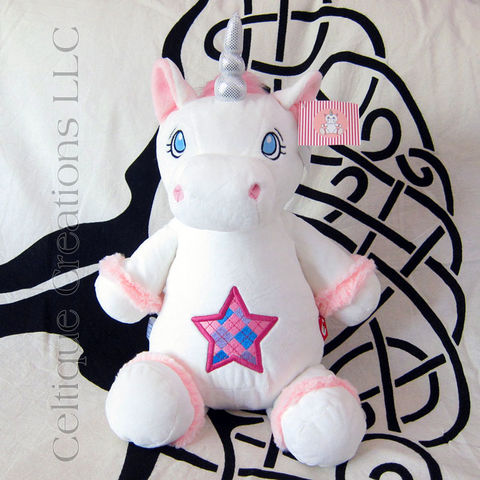 White,Cubbies,Unicorn,Stuffed,Animal,with,Scottish,Argyle,Star,Embroidery,Celtic Unicorn, Scottish Unicorn, White Unicorn, Unicorn Stuffed Animal, Unicorn Soft Toy, Cubbies, Cubbies Unicorn, Celtique Creations, Star