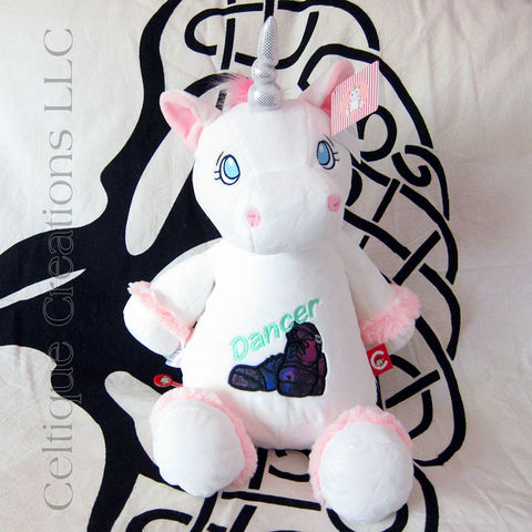 Irish Dancer Cubbies Unicorn Stuffed Animal With Hard Shoe Applique - product images  of
