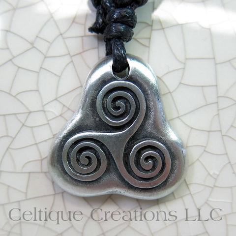 Simple,Celtic,Triskele,Fine,Pewter,Adjustable,Necklace,Triple,Spiral,Jewelry,Celtic Triskele, Celtic Triple Spiral Necklace, Celtic Jewelry, Celtic Pewter Necklace, Triple Spiral, Triskele, Triskelion, Celtic Necklace, Celtique Creations