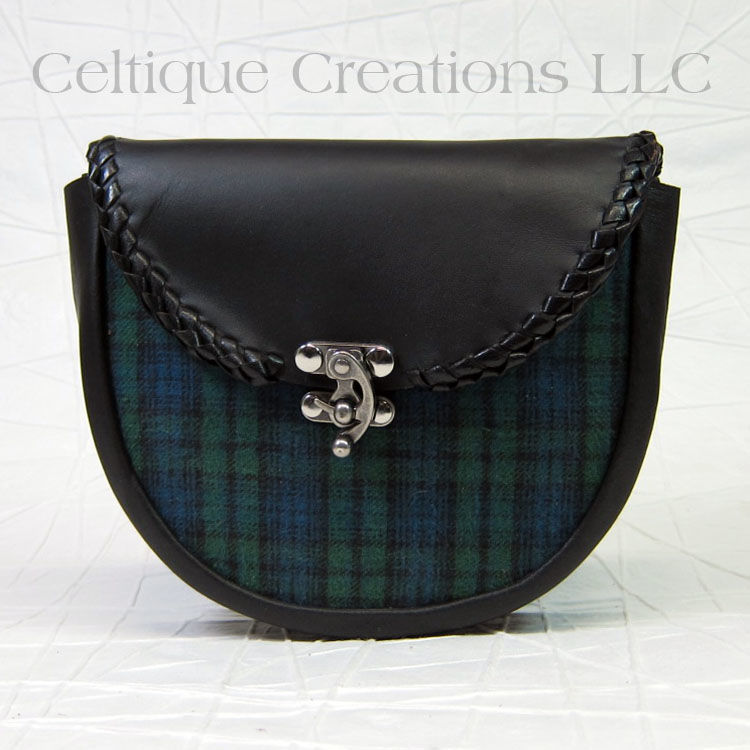 Handmade Plaid Sporran Black Leather Kilt Accessory - product images  of