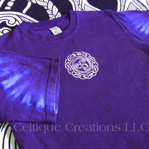 Celtic,Triskele,Tie,Dye,Purple,T-Shirt,Celtic T-Shirt, Celtic Shirt, Celtic Tie Dye Shirt, Celtic Embroidered Shirt, Celtique Creations