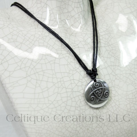 Double Celtic Triskele Adjustable Fine Pewter Necklace - product images  of