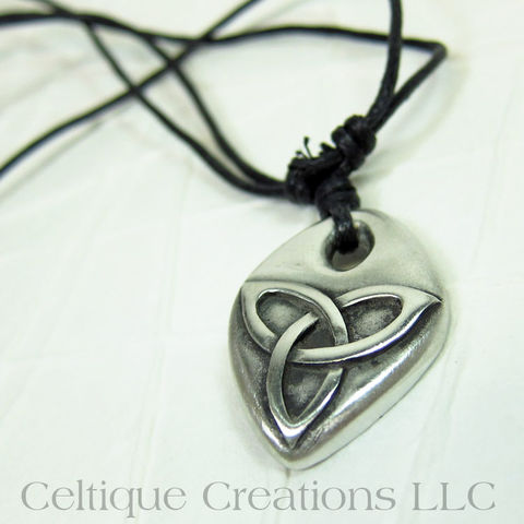 Embossed,Trinity,Knot,Adjustable,Fine,Pewter,Necklace,Trinity Knot Necklace, Trinity Knot Pewter Necklace, Triquetra Necklace, Celtic Trinity Necklace, Celtic Jewelry, Celtique Creations