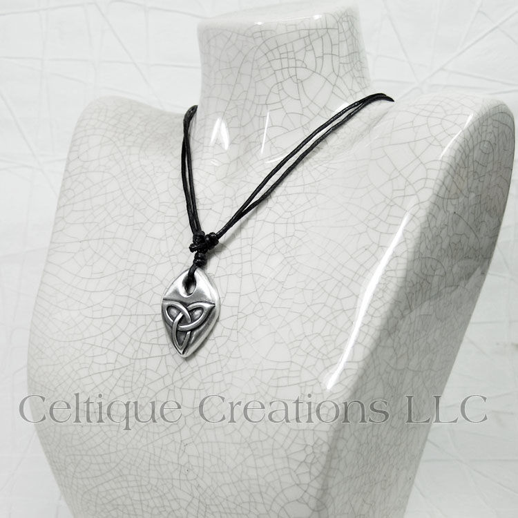 Embossed Trinity Knot Adjustable Fine Pewter Necklace - product images  of